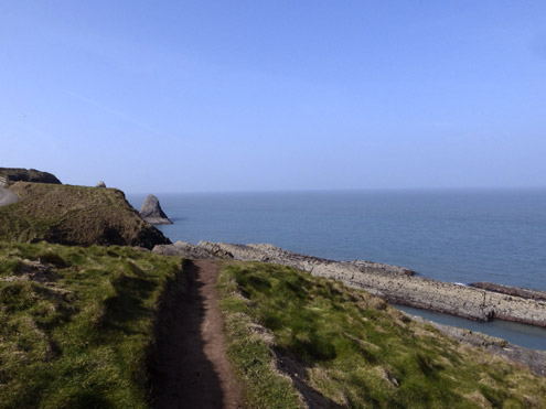 View from the coast path at Ceibwr