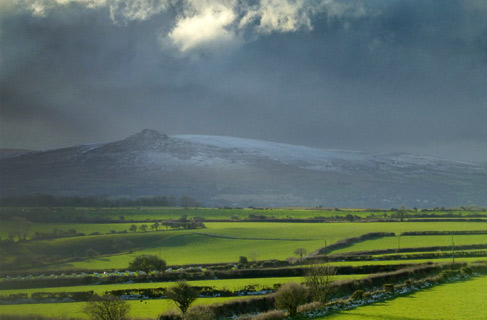 Snow on Carningli Mountain